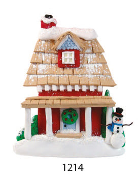 HOUSE W/ SNOWMAN - Express Ornaments