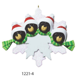 BEAR SNOWFLAKE FAMILY OF 4 - Express Ornaments