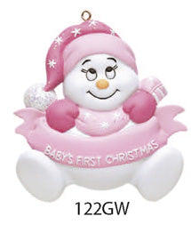 BABY 1ST CHRISTMAS SNOWMAN PINK - Express Ornaments