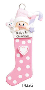BABY 1ST CHRISTMAS STOCKING PINK - Express Ornaments