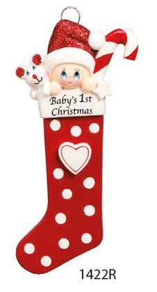 BABY 1ST CHRISTMAS STOCKING RED - Express Ornaments