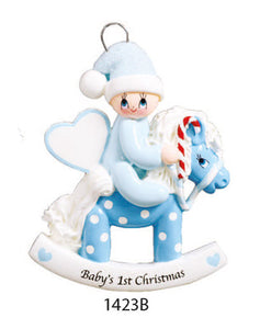 BABY 1ST CHRISTMAS PONY BLUE - Express Ornaments