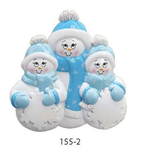 SNOWMAN BLUE FAMILY OF 3 - Express Ornaments