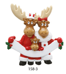 MOOSE FAMILY OF 3 - Express Ornaments
