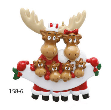MOOSE FAMILY OF 6 - Express Ornaments