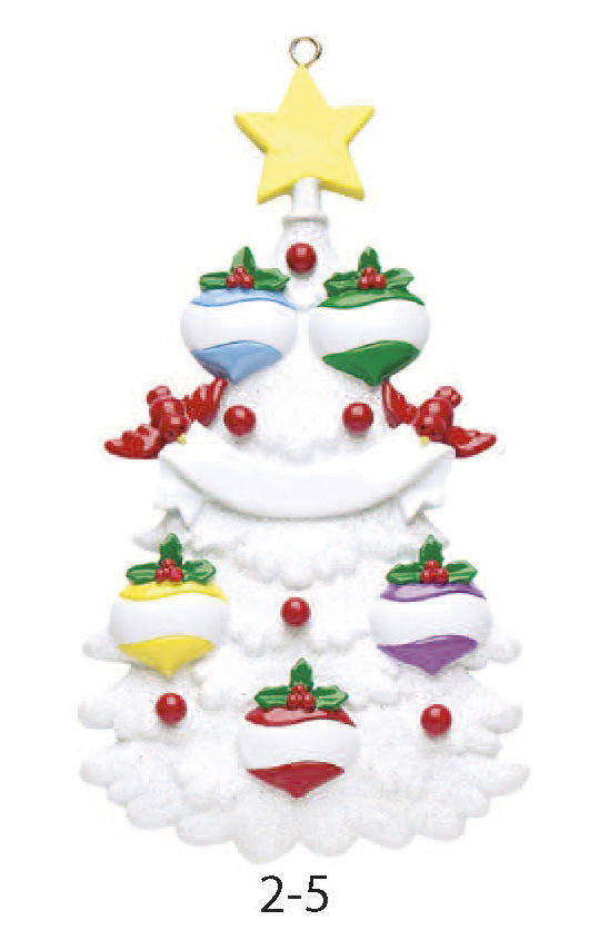 WHITE CHRISTMAS TREE FAMILY OF 5 - Express Ornaments