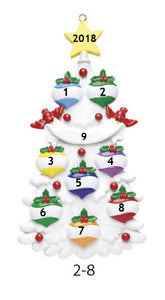 WHITE CHRISTMAS TREE FAMILY OF 8 - Express Ornaments