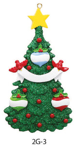 GLITTER CHRISTMAS TREE FAMILY OF 3 - Express Ornaments