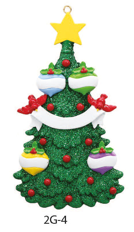 GLITTER CHRISTMAS TREE FAMILY OF 4 - Express Ornaments