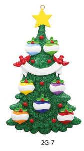 GLITTER CHRISTMAS TREE FAMILY OF 7 - Express Ornaments