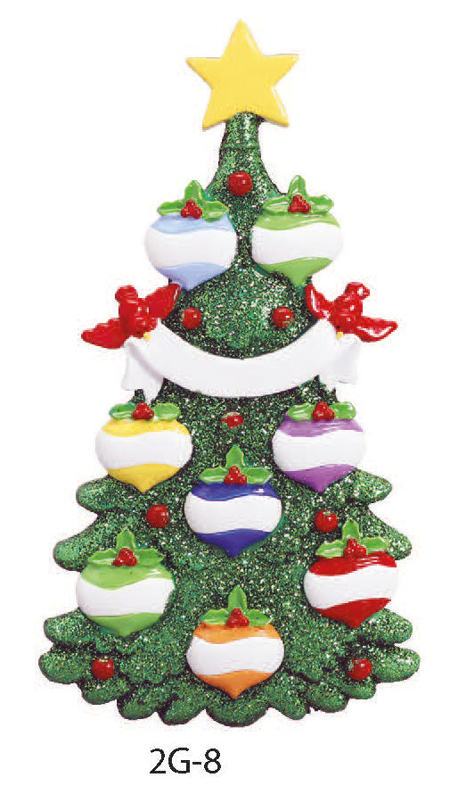 GLITTER CHRISTMAS TREE FAMILY OF 8 - Express Ornaments
