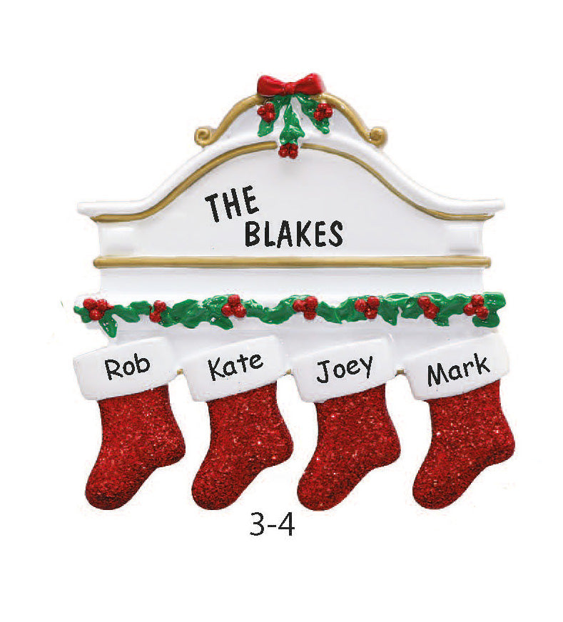 Stocking Family of 4 - Express Ornaments