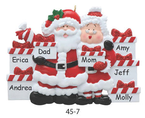 SANTA & MRS. CLAUS FAMILY OF 7 - Express Ornaments