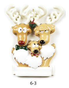 REINDEER FAMILY OF 3 - Express Ornaments