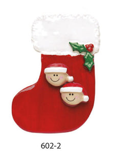 RED STOCKING FAMILY OF 2 - Express Ornaments