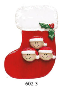 RED STOCKING FAMILY OF 3 - Express Ornaments