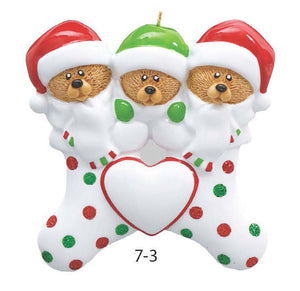 TEDDY BEAR STOCKING FAMILY OF 3 - Express Ornaments