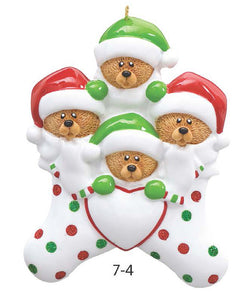 TEDDY BEAR STOCKING FAMILY OF 4 - Express Ornaments
