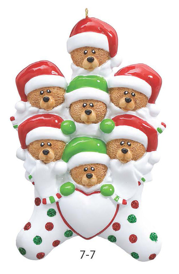 TEDDY BEAR STOCKING FAMILY OF 7 - Express Ornaments