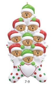 TEDDY BEAR STOCKING FAMILY OF 9 - Express Ornaments
