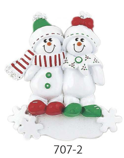 SNOW MAN  FLAKES FAMILY  OF 2 - Express Ornaments