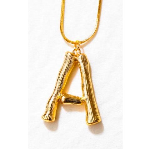 1875f148df38c Bamboo Initial Letter Pendant Necklace (Celine-Style)