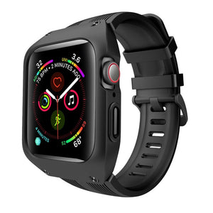 Case with Silicone Strap for Apple Watch Band Series 4