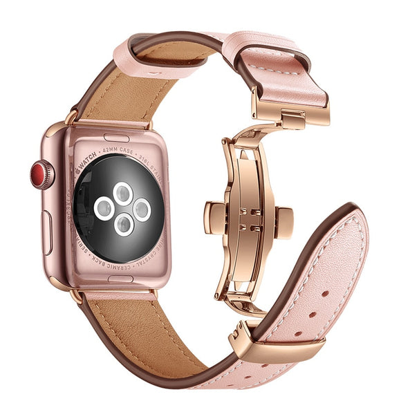 Rose Gold Butterfly Clasp Leather Watch Strap For Apple Watch