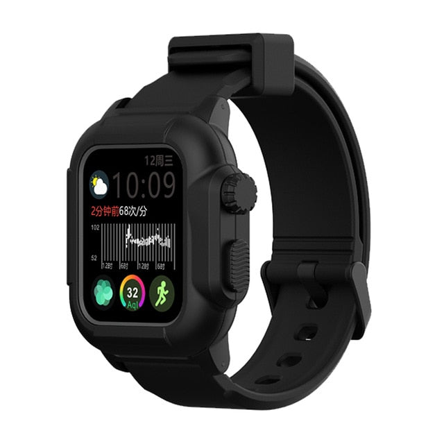 Sport Waterproof Soft Cover for Apple Watch Case Series 4 with Silicone Band