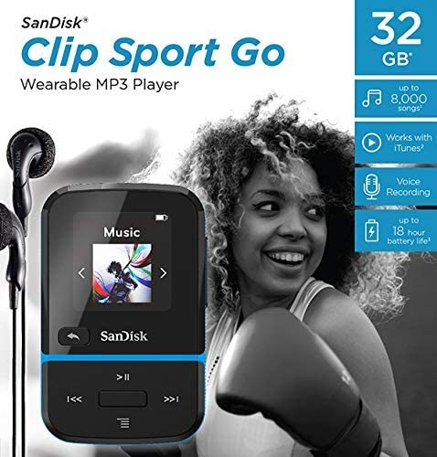 SanDisk Clip Sport GO MP3 Player 32GB - Blue