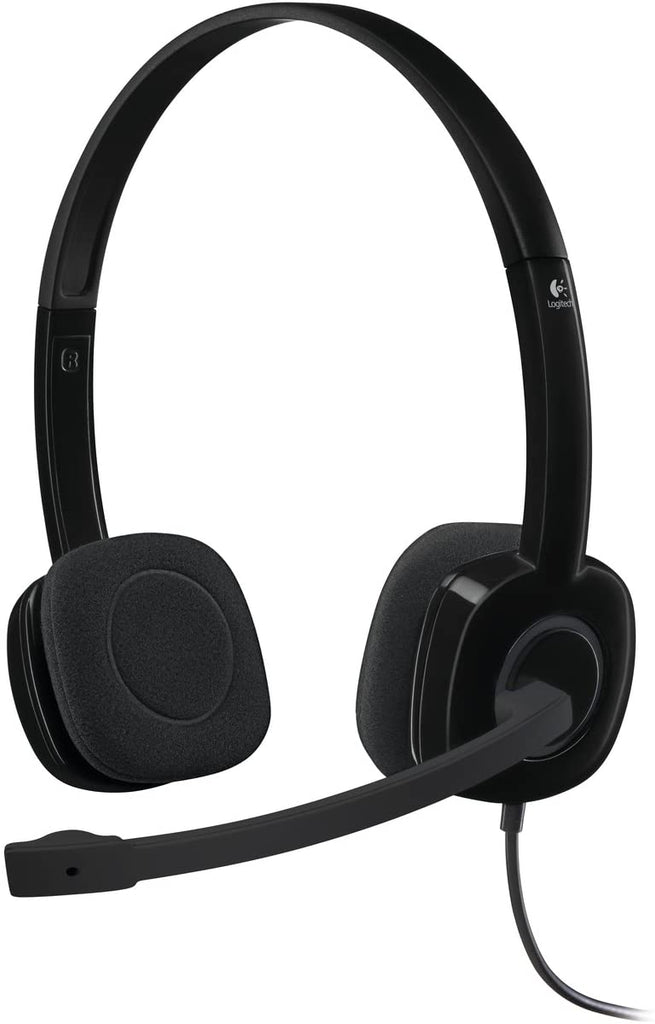 Logitech H151 Wired Headset, Stereo Headphones with Rotating Noise-Cancelling Microphone, 3.5 mm Audio Jack