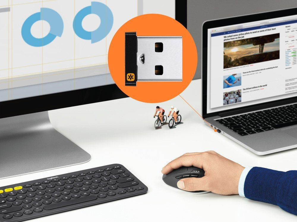 Logitech Unifying Wireless Receiver for Logitech Mice and Keyboards,  Connect Upto 6 Devices