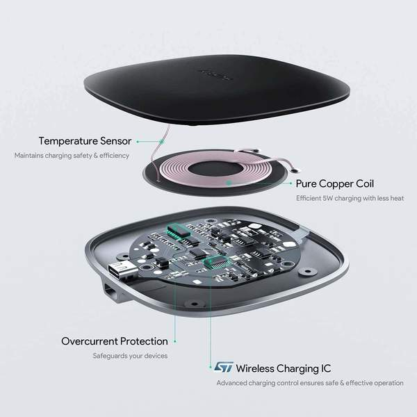 AUKEY LC-C5 5W Qi Graphite Wireless Charger Pad with USB C