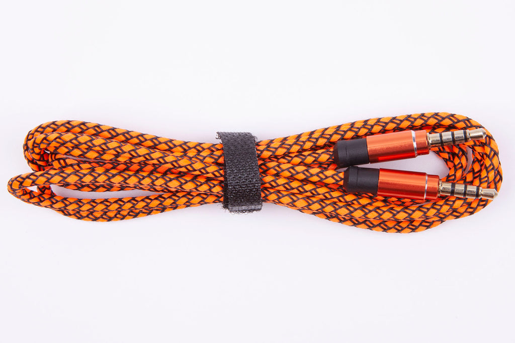 Black Stork Jack 3.5mm Audio Cable Nylon Braid 3.5mm Car AUX Cable 1.5M Orange