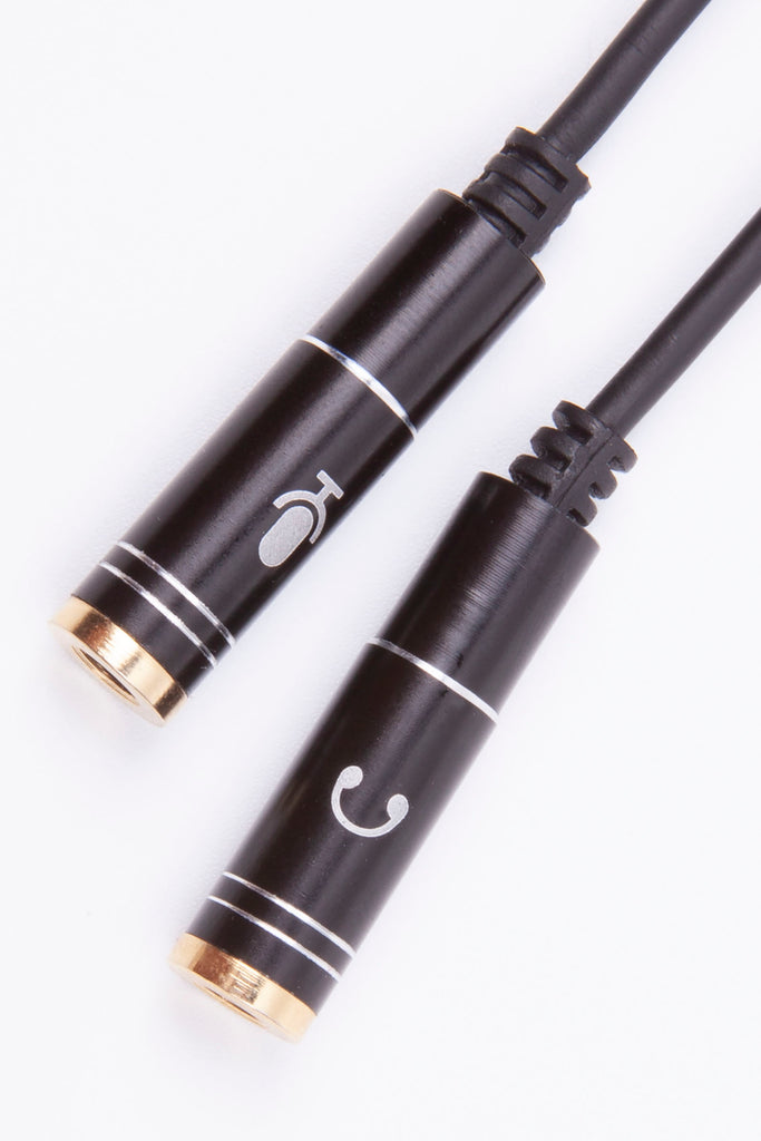 Black Stork 3.5mm Stereo Audio Male to 2 Female Headset Mic Y Splitter Cable Adapter Black