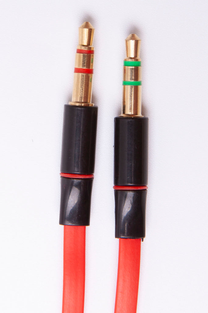 Black Stork 3.5 Female to 3.5 male + male audio Jack Headset Mic Y Splitter Cable Red