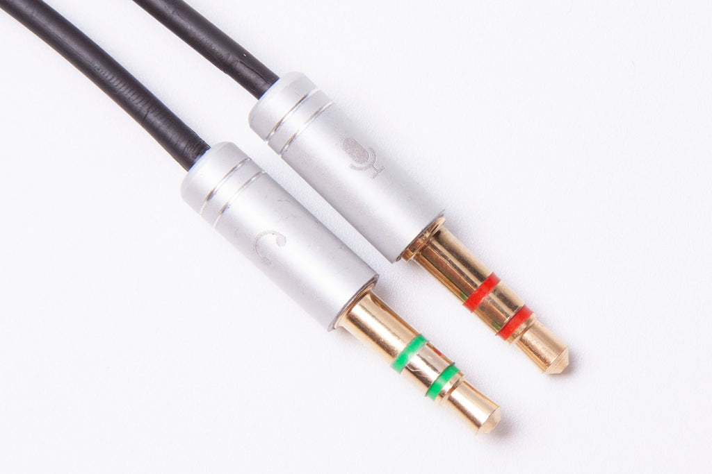 Black Stork 3.5mm Headphone Mic Audio Y Splitter Cable 1 Female to Dual Male Silver