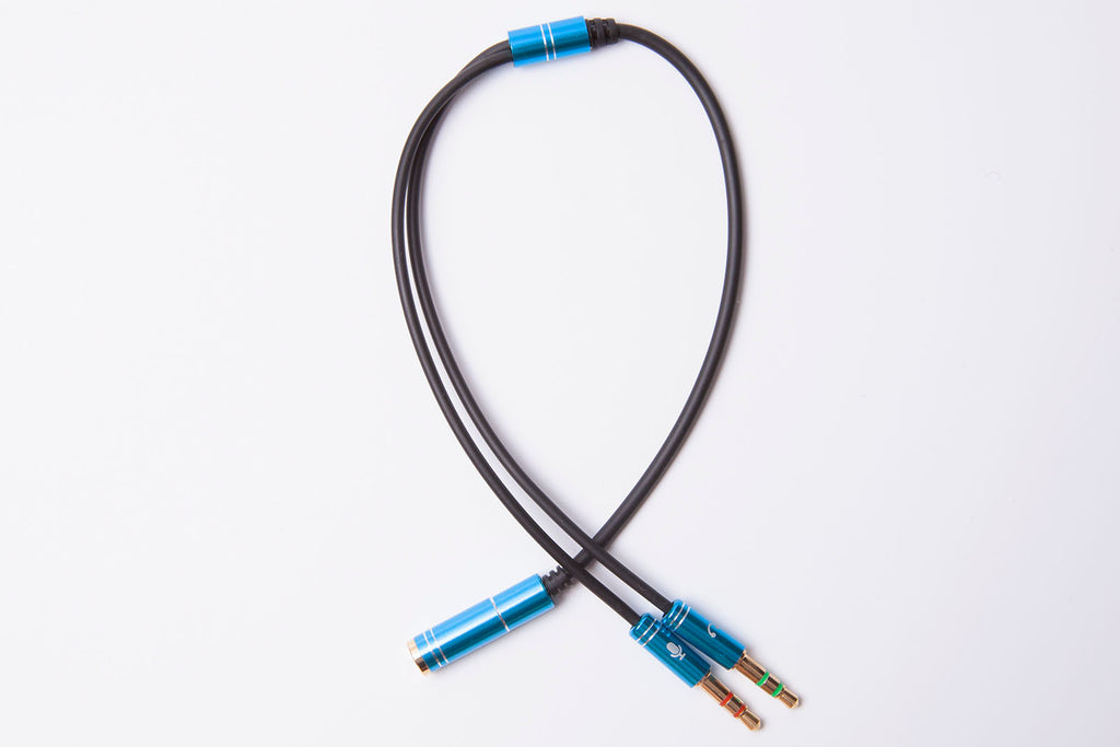 Black Stork 3.5mm Headphone Mic Audio Y Splitter Cable 1 Female to Dual Male Blue
