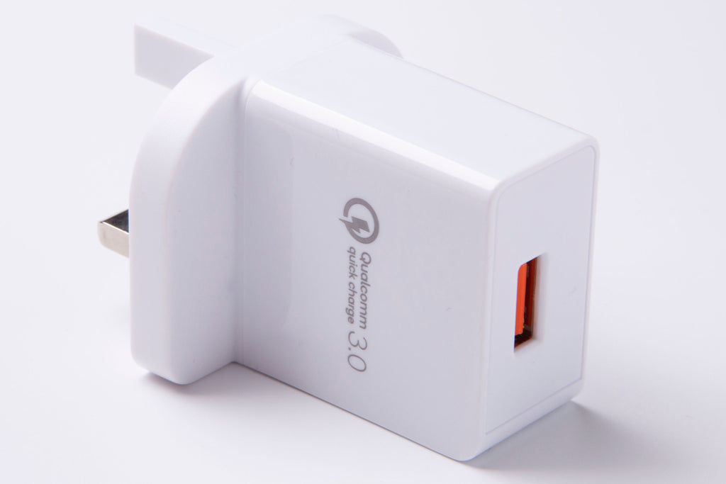 BlackStork UK Fast Charger QC 3.0 USB 18W Quick Wall Charger White