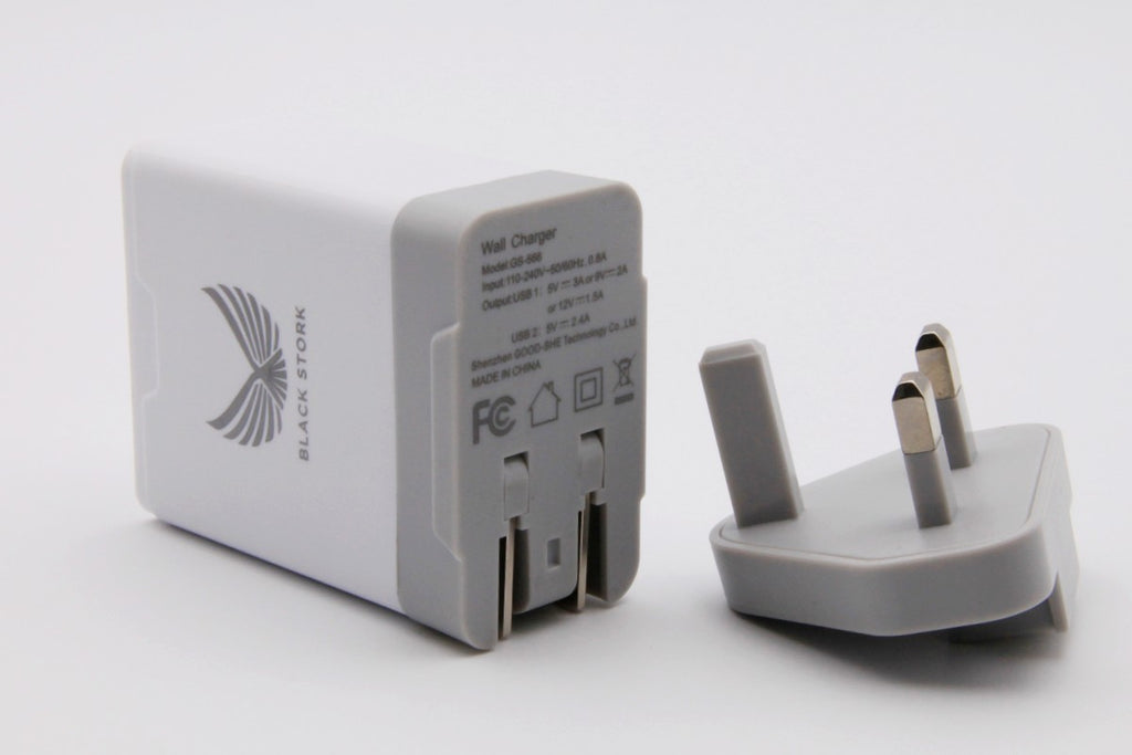 Black Stork UK Fast Charger QC 3.0 USB 30W +5V 2.4A Quick Wall Charger White