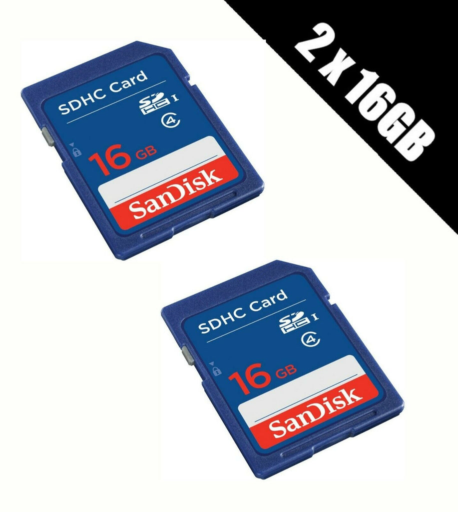 2x SanDisk 16GB SD HD Card SDHC Memory Card Class 4 16 GB For Digital Cameras