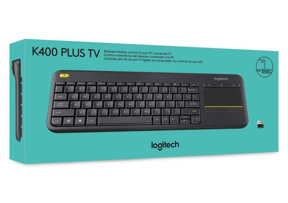 Logitech k400+ Plus Keyboard UK Black