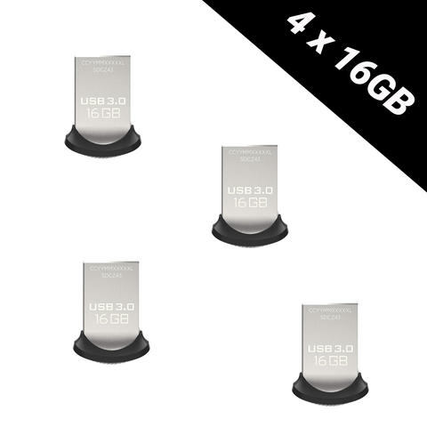 4x SanDisk Ultra Fit 16 GB USB Flash Drive USB 3.0 up to 150 MB/s 16gb total: 64GB