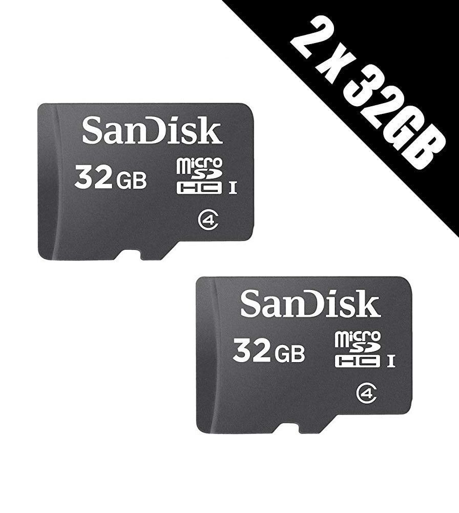 2x 32GB Sandisk Micro SDHC memory card Class 4 Flash SD micro card mobile 32gb total 64gb