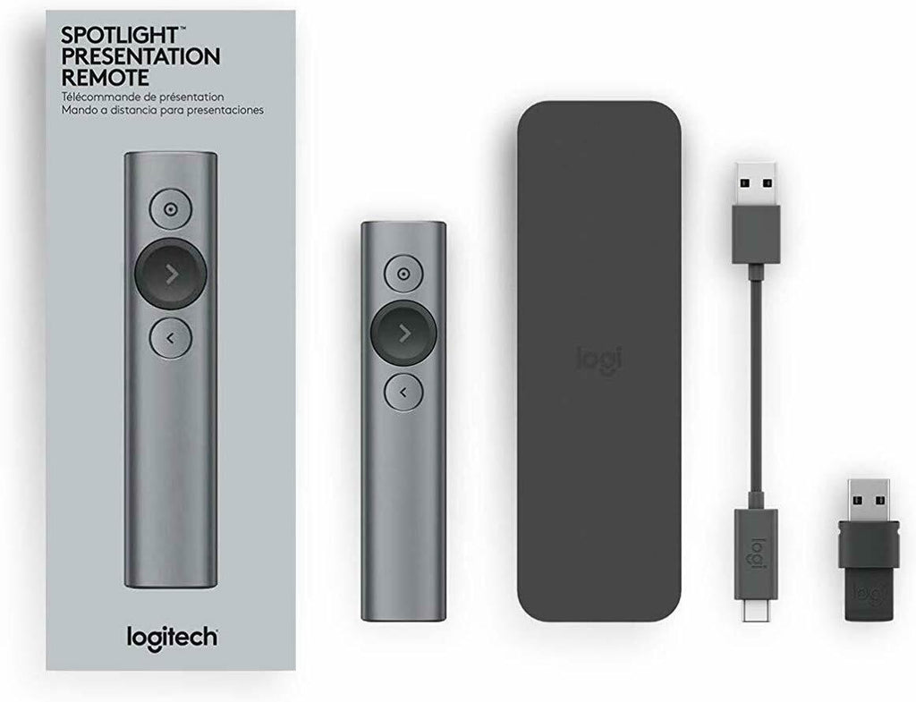 Logitech Spotlight Remote Wireless Presenter USB Bluetooth Range 30m GOLD