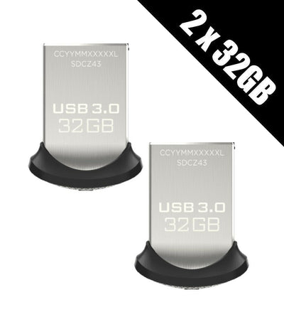 2x SanDisk Ultra Fit 32 GB USB Flash Drive USB 3.0 up to 150 MB/s 32gb total 64gb