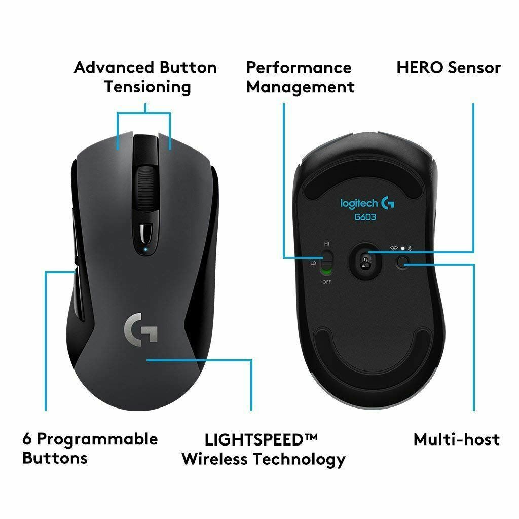 Logitech G603 Lightspeed Wireless Gaming Mouse HERO optical sensor 12.000 DPI