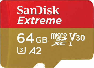 64GB SanDisk Extreme micro SD XC Memory Card V-Class 30 U3 4K Video A2 100MB/s