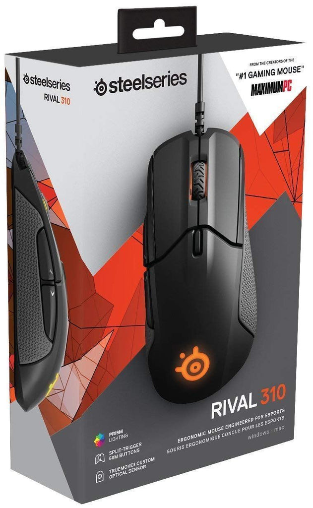 SteelSeries Rival 310 Optical Gaming Mouse RGB Illumination 6 Buttons Memory