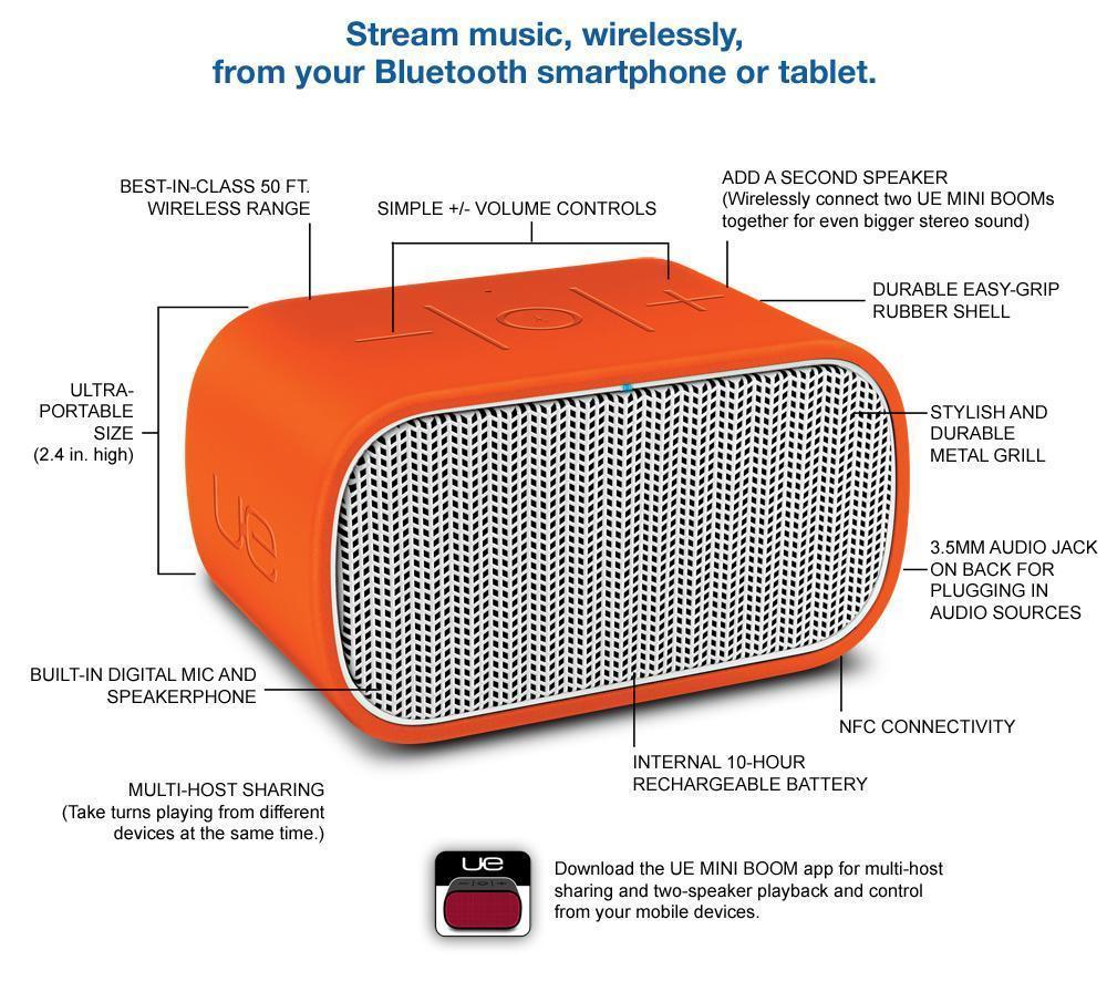 Logitech UE MINI BOOM ORANGE Bluetooth Speaker and Speakerphone